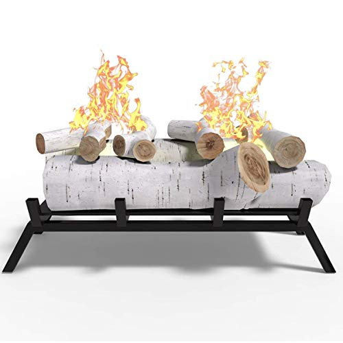 Regal Flame 18 Ethanol Fireplace Grate Log Set with Burner Insert for Easy Conversion from Gas Logs Gel Wood Log Electric Log Electric Fireplace Insert or Wood Burning Fireplace Insert Birch 0 0