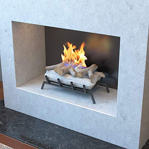 Regal Flame 18 Ethanol Fireplace Grate Log Set with Burner Insert for Easy Conversion from Gas Logs Gel Wood Log Electric Log Electric Fireplace Insert or Wood Burning Fireplace Insert Birch 0 1