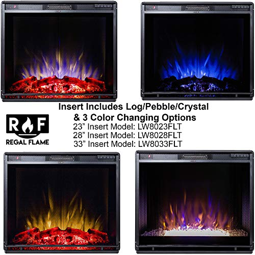 Regal Flame 23 Flat Ventless Heater Electric Fireplace Insert Black Frame 3 Color Changing Settings 0 5