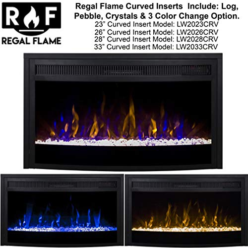Regal Flame 26 Inch Curved Ventless Heater Electric Fireplace Insert 0 0