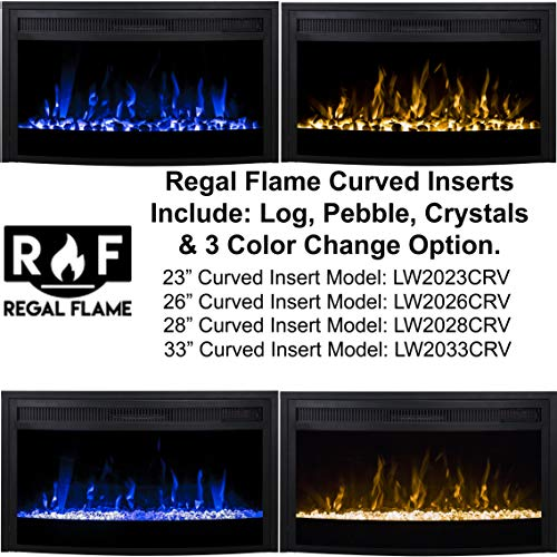 Regal Flame 26 Inch Curved Ventless Heater Electric Fireplace Insert 0 1