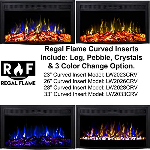 Regal Flame 26 Inch Curved Ventless Heater Electric Fireplace Insert 0 2