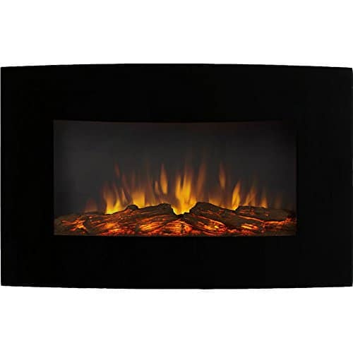 Regal Flame Gibson Living GL5135LE Soho 35 Inch Curved Black Log Wall Mounted Electric Fireplace 0