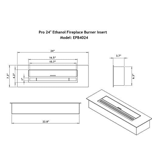 Regal Flame Indoor Outdoor PRO 24 Ventless Bio Ethanol Fireplace Burner Insert 48 Liter 0 4