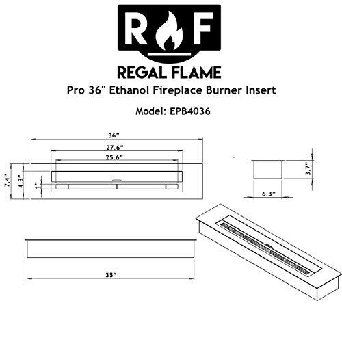 Regal Flame PRO 36 Inch Bio Ethanol Fireplace Burner Insert 74 Liter 0 4