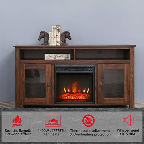 Romayard Electric Fireplace TV Stand Console for TVs up to 60 Electric Fireplace Heater Entertainment Center 60 0 0