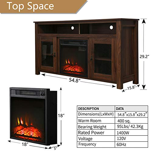 Romayard Electric Fireplace TV Stand Console for TVs up to 60 Electric Fireplace Heater Entertainment Center 60 0 4