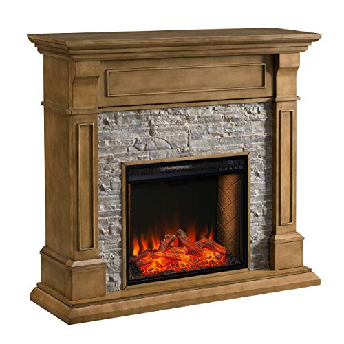 SEI Furniture Jayben Alexa Enabled Smart Media Fireplace Faux Stone Grey 0 0