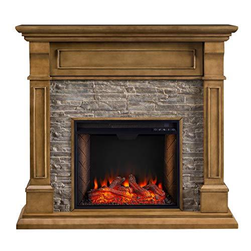 SEI Furniture Jayben Alexa Enabled Smart Media Fireplace Faux Stone Grey 0