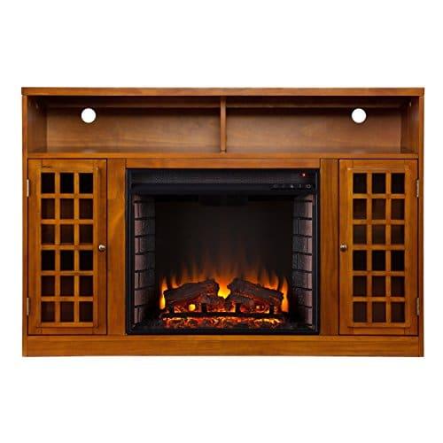 SEI Furniture Media Electric Fireplace Television Media Stand Glazed Pine Wood Finish 0 0