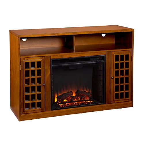 SEI Furniture Media Electric Fireplace Television Media Stand Glazed Pine Wood Finish 0 1