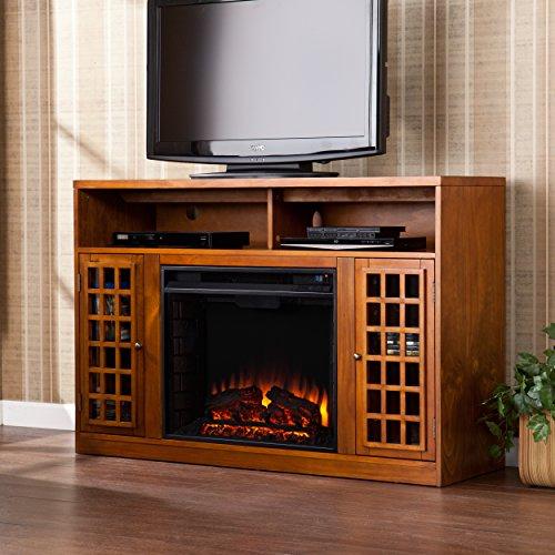 SEI Furniture Media Electric Fireplace Television Media Stand Glazed Pine Wood Finish 0 4