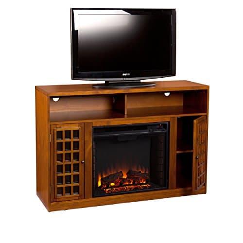 SEI Furniture Media Electric Fireplace Television Media Stand Glazed Pine Wood Finish 0