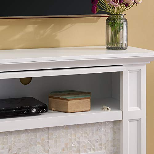SEI Furniture Nobleman Alexa Enabled Smart Fireplace with Tile Surround White 0 0