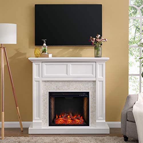 SEI Furniture Nobleman Alexa Enabled Smart Fireplace with Tile Surround White 0 1