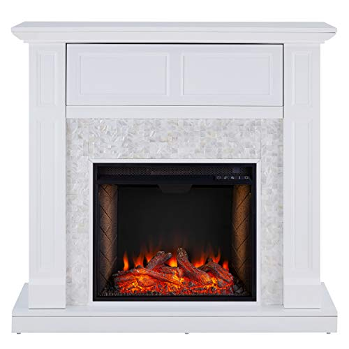 SEI Furniture Nobleman Alexa Enabled Smart Fireplace with Tile Surround White 0 2