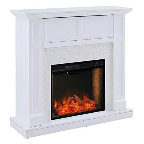 SEI Furniture Nobleman Alexa Enabled Smart Fireplace with Tile Surround White 0 3