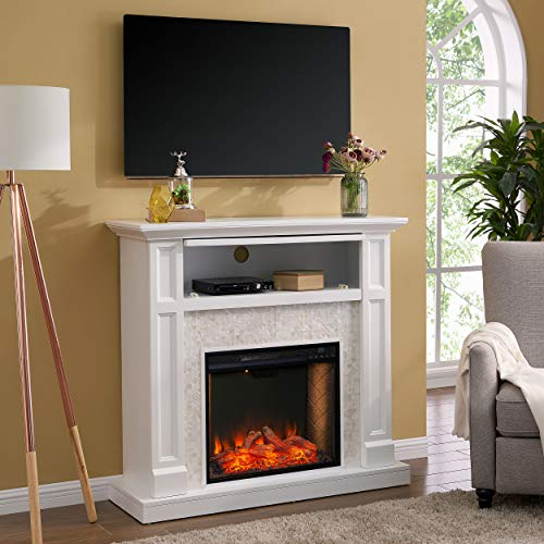 SEI Furniture Nobleman Alexa Enabled Smart Fireplace with Tile Surround White 0