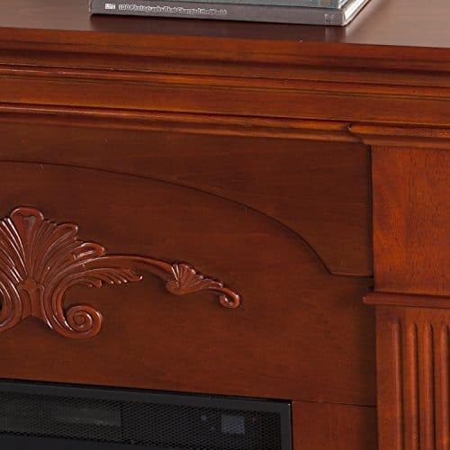 SEI Furniture Sicilian Harvest Electric Mantel Fireplace Radiant Heat Space Heater Mahogany Finish 0 0
