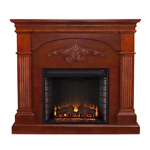 SEI Furniture Sicilian Harvest Electric Mantel Fireplace Radiant Heat Space Heater Mahogany Finish 0 1