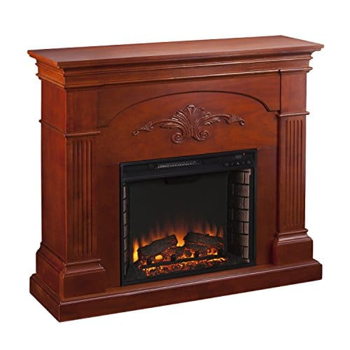 SEI Furniture Sicilian Harvest Electric Mantel Fireplace Radiant Heat Space Heater Mahogany Finish 0 2