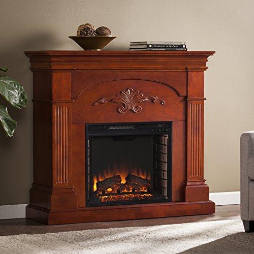 SEI Furniture Sicilian Harvest Electric Mantel Fireplace Radiant Heat Space Heater Mahogany Finish 0