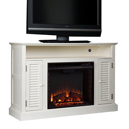 SEI Furniture Southern Enterprises Antebellum Media Electric Fireplace 48 Wide Antique White Finish 0 0
