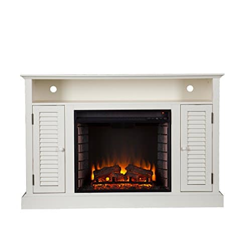 SEI Furniture Southern Enterprises Antebellum Media Electric Fireplace 48 Wide Antique White Finish 0 1