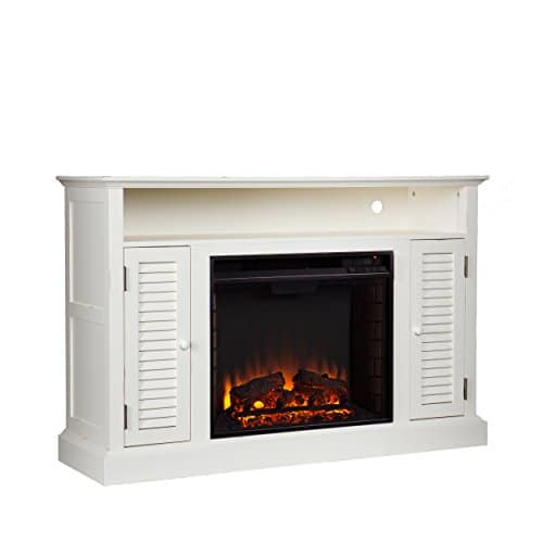SEI Furniture Southern Enterprises Antebellum Media Electric Fireplace 48 Wide Antique White Finish 0 2