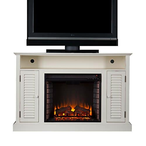 SEI Furniture Southern Enterprises Antebellum Media Electric Fireplace 48 Wide Antique White Finish 0