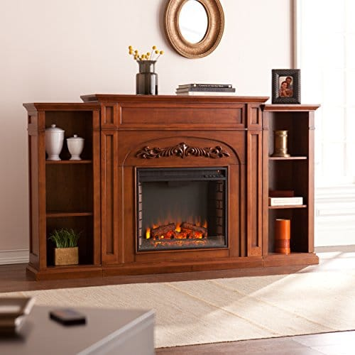 SEI Furniture Southern Enterprises Chantilly Electric Fireplace with Bookcase Autumn Oak Finish 0 0