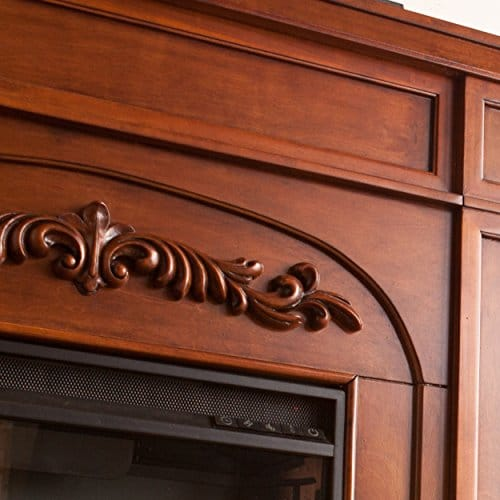 SEI Furniture Southern Enterprises Chantilly Electric Fireplace with Bookcase Autumn Oak Finish 0 1