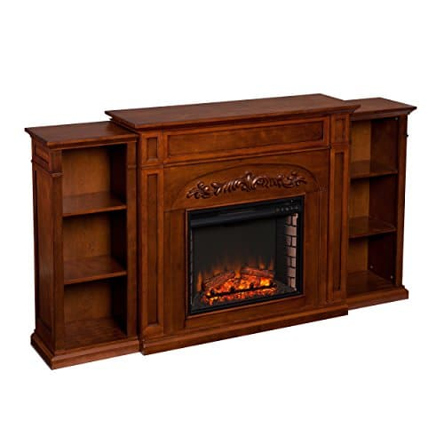 SEI Furniture Southern Enterprises Chantilly Electric Fireplace with Bookcase Autumn Oak Finish 0 2