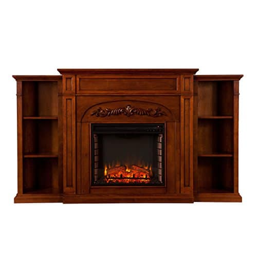 SEI Furniture Southern Enterprises Chantilly Electric Fireplace with Bookcase Autumn Oak Finish 0