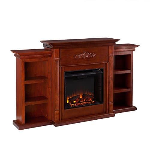 SEI Furniture Southern Enterprises Tennyson Electric Fireplace with Bookcase Classic Mahogany Finish 0 0