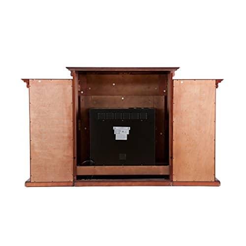 SEI Furniture Southern Enterprises Tennyson Electric Fireplace with Bookcase Classic Mahogany Finish 0 2