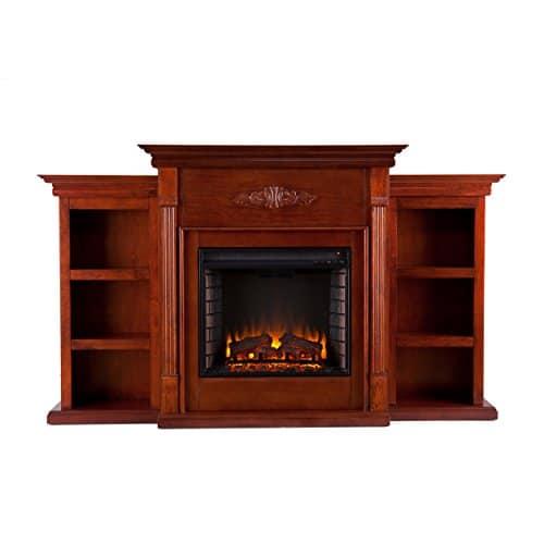 SEI Furniture Southern Enterprises Tennyson Electric Fireplace with Bookcase Classic Mahogany Finish 0