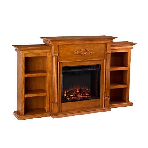 SEI Furniture Southern Enterprises Tennyson Electric Fireplace with Bookcase Glazed Pine Finish 0 0