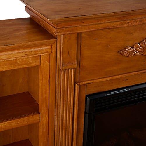 SEI Furniture Southern Enterprises Tennyson Electric Fireplace with Bookcase Glazed Pine Finish 0 2