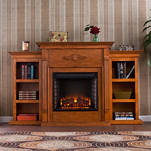 SEI Furniture Southern Enterprises Tennyson Electric Fireplace with Bookcase Glazed Pine Finish 0 3