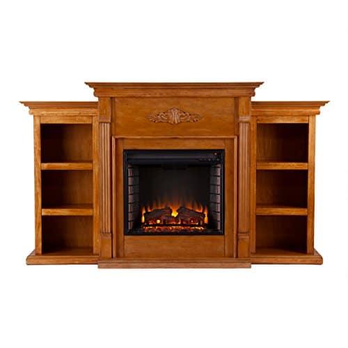SEI Furniture Southern Enterprises Tennyson Electric Fireplace with Bookcase Glazed Pine Finish 0