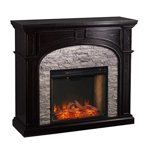SEI Furniture Tanaya Alexa Enabled Smart Fireplace with Faux Stone EbonyGrey 0 0