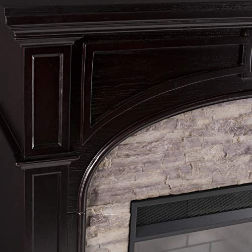 SEI Furniture Tanaya Alexa Enabled Smart Fireplace with Faux Stone EbonyGrey 0 1