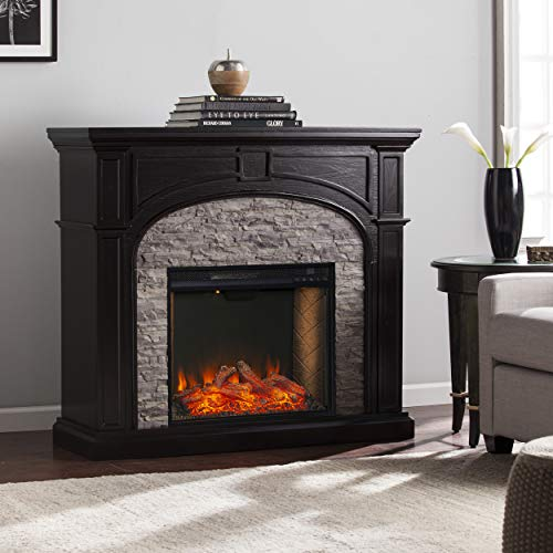 SEI Furniture Tanaya Alexa Enabled Smart Fireplace with Faux Stone EbonyGrey 0 4
