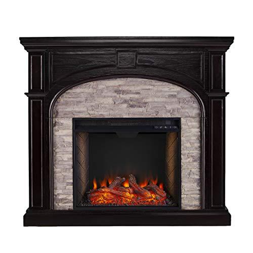 SEI Furniture Tanaya Alexa Enabled Smart Fireplace with Faux Stone EbonyGrey 0