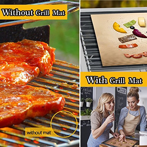 SKYBD Copper Grill Mat Set of 3 Non Stick BBQ Grilling Baking Mats for Gas Charcoal Electric Grill Sheet Reusable and Easy to Clean 1575 x 13 Inch 0 2
