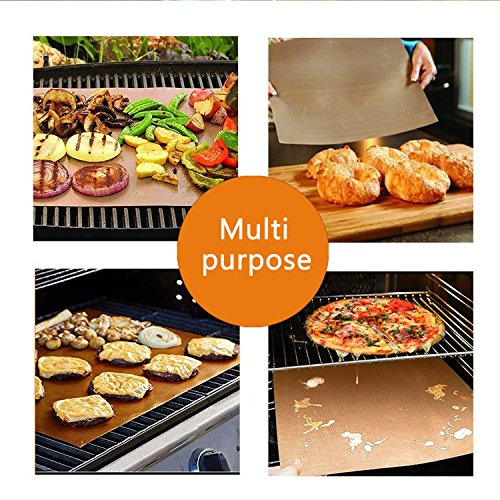 SKYBD Copper Grill Mat Set of 3 Non Stick BBQ Grilling Baking Mats for Gas Charcoal Electric Grill Sheet Reusable and Easy to Clean 1575 x 13 Inch 0 3