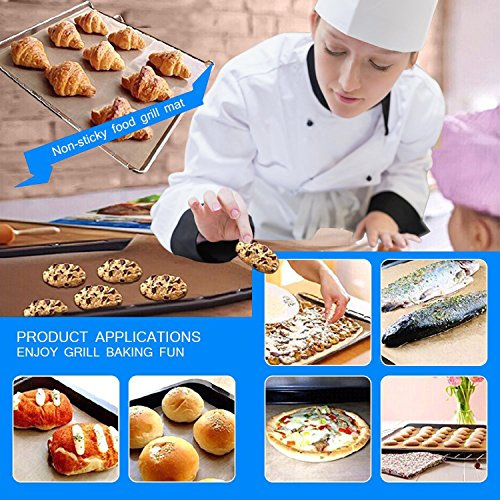 SKYBD Copper Grill Mat Set of 3 Non Stick BBQ Grilling Baking Mats for Gas Charcoal Electric Grill Sheet Reusable and Easy to Clean 1575 x 13 Inch 0 4
