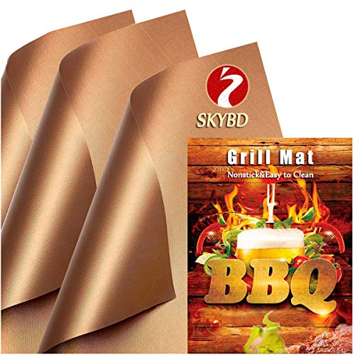 SKYBD Copper Grill Mat Set of 3 Non Stick BBQ Grilling Baking Mats for Gas Charcoal Electric Grill Sheet Reusable and Easy to Clean 1575 x 13 Inch 0