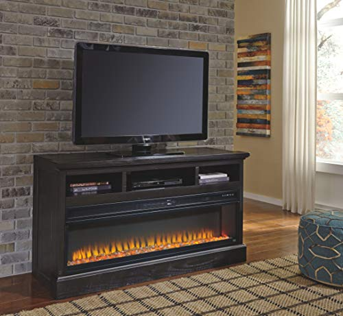 Signature Design by Ashley Entertainment Accessories Wide Fireplace Insert Black 0 2